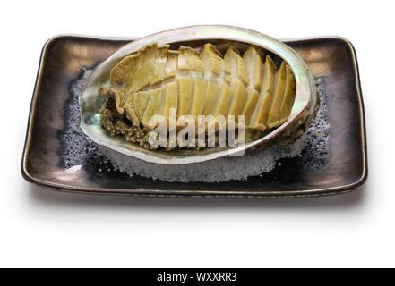 steamed abalone with sake, awabi no sakamushi, japanese cuisine - Stock Photo
