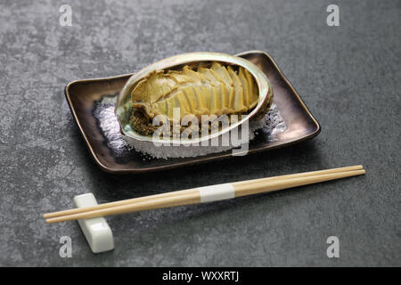 steamed abalone with sake, awabi no sakamushi, japanese cuisine - Stock Photo