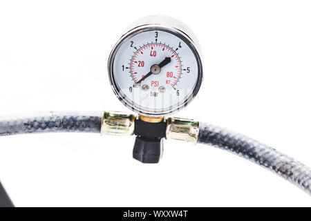 close up tire pressure gauge in the studio on a white background - Stock Photo