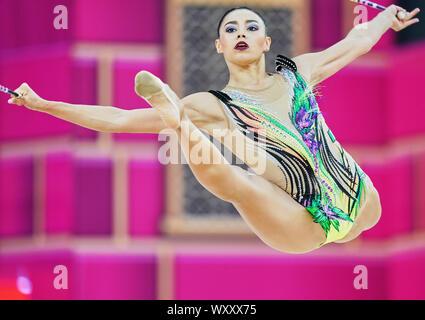 Baku, Azerbaijan. 18th Sep, 2019. !! during the 37th Rhythmic Gymnastics World Championships match between and Day 3 at the National Gymnastics Arena in Baku, Azerbaijan. Ulrik Pedersen/CSM. Credit: Cal Sport Media/Alamy Live News