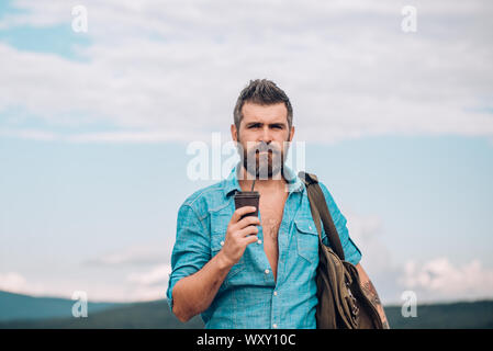 going to work. mature hipster drink coffee. male with beard. full of energy. Good morning coffee. brutal bearded man with take away coffee. Morning - Stock Photo