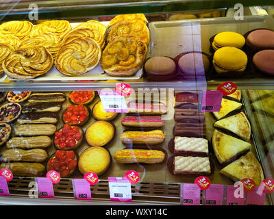 Display case of French pastries Normandy, France - Stock Photo