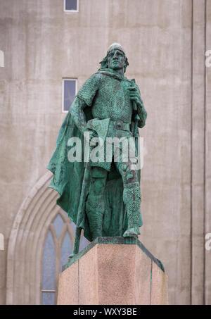 REYKJAVIK, ICELAND - Leifur Eiriksson statue. - Stock Photo