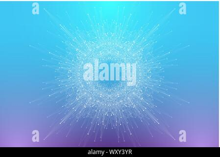 Abstract plexus background with connected lines and dots. Circular molecule or communication banner background. Graphic background for your design - Stock Photo