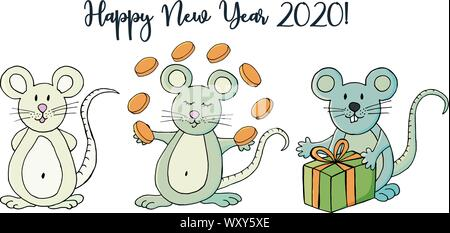 Year of the Rat. 2020 inscription on a white background. Happy New Year 2020. Cartoon style Banner, flyer. Symbol of the year. Three rats - Stock Photo