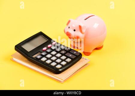 business start up. bookkeeping. financial report. piggy bank with calculator. Moneybox. family budget management. saving money. First salary. Money problem. - Stock Photo