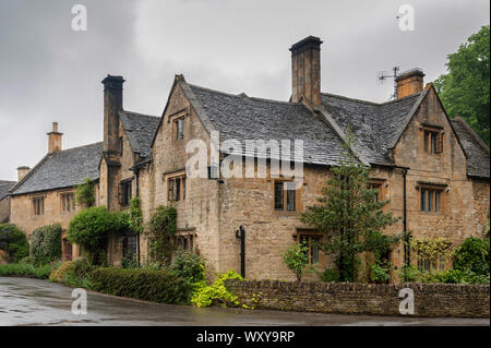 Stanton is a village in the Cotswolds district of Gloucestershire and is built completely of Cotswold stone, a honey-coloured Jurassic limestone - Stock Photo