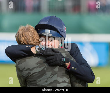 Land Rover Burghley Horse Trials, Stamford, Lincolnshire, England, 8th September 2019, Winner,  Pippa Funnell hugs owner Jane Clarke at the prize givi - Stock Photo