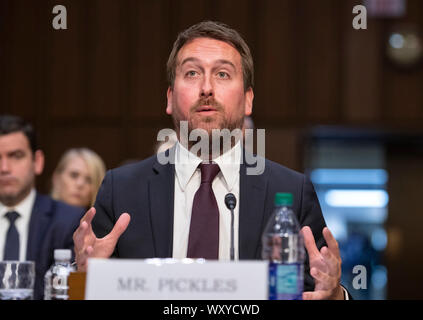 Washington DC, USA . 18th Sep, 2019. Nick Pickles, Public Policy Director, Twitter, testifies before the United States Senate Committee on Commerce, Science and Transportation on 'Mass Violence, Extremism, and Digital Responsibility' on Capitol Hill in Washington, DC on Wednesday, September 18, 2019. Credit: MediaPunch Inc/Alamy Live News - Stock Photo