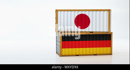 Two freight container with Japan and Germany flag. Copy space on the left side - 3D Rendering - Stock Photo