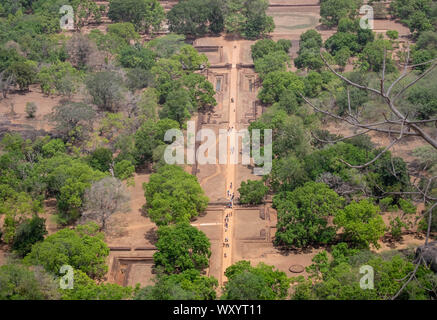 Landscape forest and mountain aerial view form Sigiriya rock, Sri Lanka, panoramic view, which dominates the jungle from all sides, Dambulla in Sri La - Stock Photo