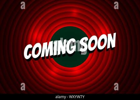Coming soon comic cartoon style title on red circle background. Old cinema movie round promotion announcement screen. Vector retro scene advertising poster template illustration - Stock Photo
