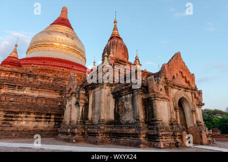 Wide angle picture of the architectonic Dhammayazika Temple, an amazing buddhist pagoda in Bagan in Myanmar - Stock Photo