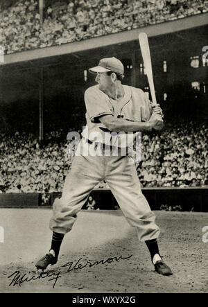 Vintage photograph of baseball player Mickey Vernon who was active in the  Major Leagues 1940s and 50s and became a manager in the 1960s. Stock Photo