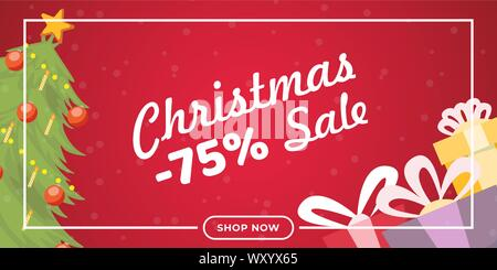 Christmas sale flat banner vector template. Traditional shopping event landing page concept, winter holiday wholesale promotional poster layout. Fir tree and presents illustration with lettering - Stock Photo