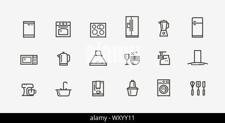 Kitchen appliances icon set. Household electronics in linear style. Vector - Stock Photo