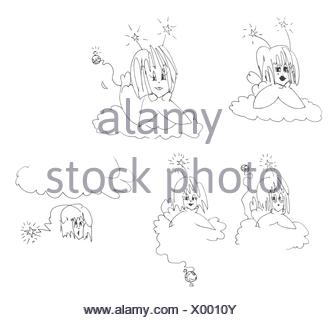 Five angels, original ink sketch cartoon in black and white. Angels with attitude. - Stock Photo