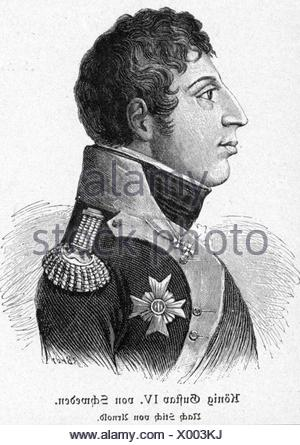 Gustav IV Adolf, 1.11.1778 - 7.2.1837, King of Sweden 29.3.1792 - 29.3.1809, portrait, copper engraving, circa 1803, Artist's Copyright has not to be cleared - Stock Photo