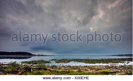 thunderclouds over lake Chiemsee, Germany, Bavaria, Lake Chiemsee - Stock Photo