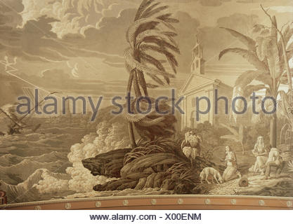 Saint-Pierre, Jacques-Henri Bernardin de, 19.1.1737 - 21.1.1814, French author / writer, 'Paul et Virginie', sinking of the ship 'St. Geran', wallpaper, after design by J.Brock, printed by Joseph Dufour & Cie., Paris, 1823, German Wallpaper Museum, Kassel, Additional-Rights-Clearances-NA - Stock Photo