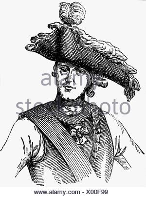 Seydlitz, Friedrich Wilhelm von, 3.2.1721 - 8.11.1773, Prussian general, half length, ink drawing, 1933, , Additional-Rights-Clearances-NA - Stock Photo