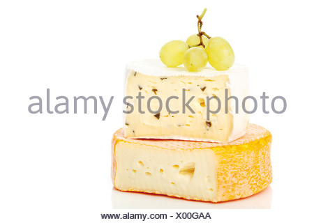 Camembert cheese and grapes - Stock Photo
