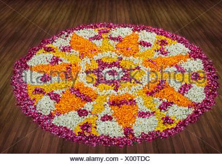 Flower rangoli - Stock Photo
