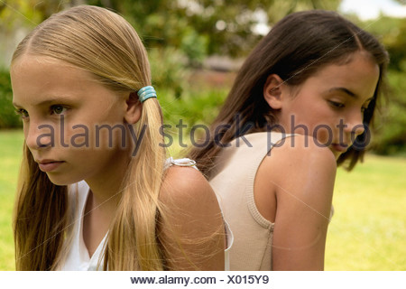 Two girlfriends not talking - Stock Photo