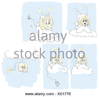 Five angels colorized - Stock Photo