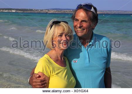 elderly couple on the beach, Balearen, Ibiza - Stock Photo