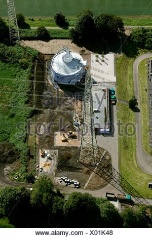 Aerial view, EmscherKunst art project, Silke Wagner, Glueckauf, Bergarbeiterproteste im Ruhrgebiet art project, digestion tank - Stock Photo