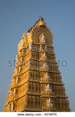 India, South India, Asia, Karnataka, Mysore, Chamundi Hill, Chamundeshwari Temple, Chamundeshwari, art, Dravidian, temple - Stock Photo