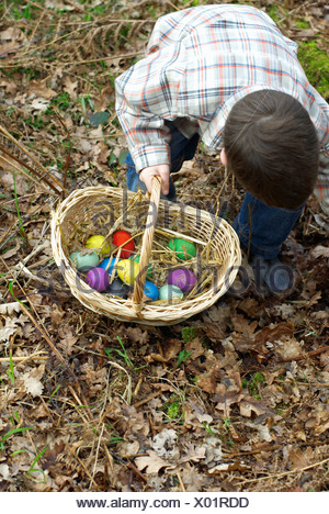 Boy collecting Easter eggs - Stock Photo