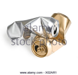 crumpled empty cans - Stock Photo