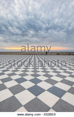 A stormy sunset at Terrazza Mascagni, Livorno, Tuscany, Italy - Stock Photo
