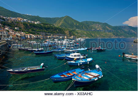 Italy, Europe, Calabria, outside, day, nobody, Scilla, Costa viola, Mediterranean Sea, sea, fishing harbour, harbour, port, fish - Stock Photo