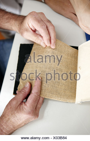 Occupational therapy, textures: shape and texture recognition exercise, exteroception. Hospital Universitario de Gran Canaria - Stock Photo