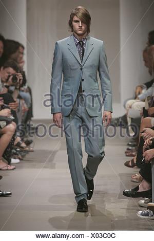 1bcabfac26e8b Photo  Hendrik Ballhausen · Prada Milan Menswear S S Male wearing teal grey  suit
