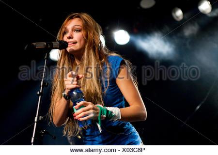 The Swiss singer Bernadette Hoehn aka Boerni live at the Schueuer venue, Lucerne, Switzerland - Stock Photo