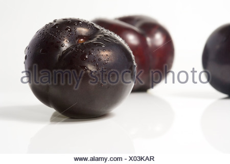 Three Fresh Purple Plums - Stock Photo
