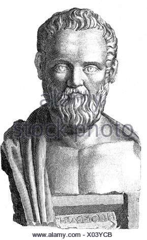 Isocrates, 436 - 338 BC, Greek rhetorician, founder of a school for orators in Athens, portrait, wood engraving, 19th century, after ancient bust, Additional-Rights-Clearances-NA - Stock Photo