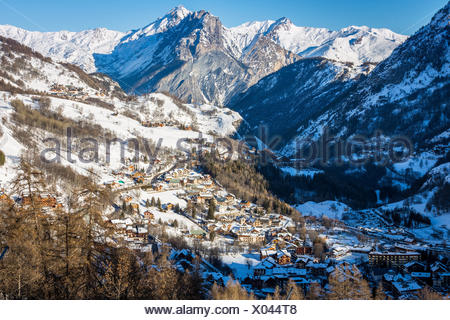 Valloire ski resort, Savoie in the French Alps, Maurienne Valley, Savoie, France - Stock Photo