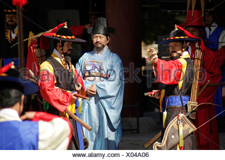 Ceremony of the guards in front of the Deoksugung royal palace, Palace of Longevity, in the Korean capital , South Korea, Asia - Stock Photo
