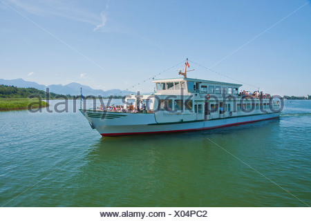 Bavaria, Germany, Europe, Upper Bavaria, Chiemsee, Herreninsel, Herrenwörth, Chiemgau, sky, castle, lake, water, ship, boat trip - Stock Photo