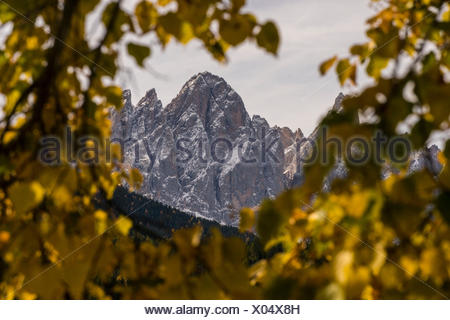 The Sass RIgas on the Odle Group, Vla di Funes, Trentino Alto Adige, ItLY, - Stock Photo