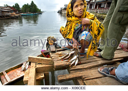 Women selling their catch at a fish market. - Stock Photo