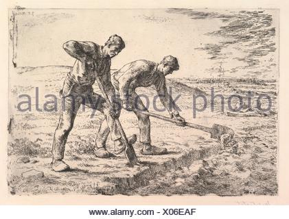 The Diggers. Artist: Jean-François Millet (French, Gruchy 1814-1875 Barbizon); Printer: Printed by Auguste Delâtre (French, Paris 1822-1907 Paris); - Stock Photo