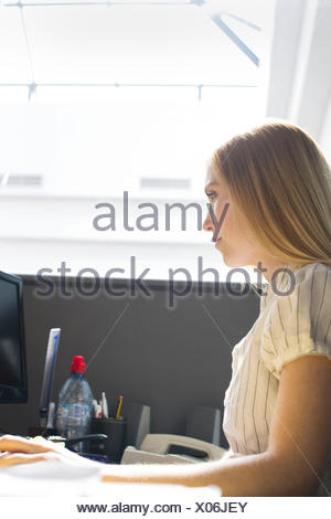 Young woman working intently in office cubicle - Stock Photo