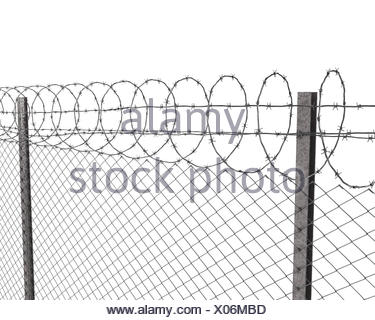 Barbed wire on top of chainlink fence Stock Photo: 17483838 - Alamy