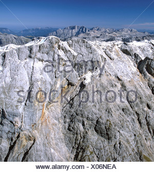 Aerial shot, Steinernes Meer karst high plateau, south face of Mt. Hochkoenig and Mt. Watzmann (middle), Berchtesgaden Alps, Sa - Stock Photo